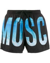 Moschino Logo Printed Swim Shorts - Black