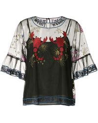 MUVEIL Embroidered Mesh Blouse - Black