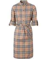 Burberry Платье-рубашка В Клетку Vintage Check С Поясом - Коричневый
