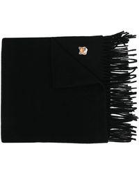 Maison Kitsuné ロゴ フリンジスカーフ - ブラック