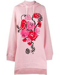 Marni Painterly-print Hoodie Dress - Pink