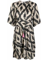 Bazar Deluxe Vestido con volante y motivo abstracto - Negro