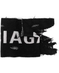 Balenciaga ロゴ ダメージ マフラー - ブラック