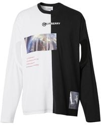 Burberry Oversized Montage Print Cut-out T-shirt - Black