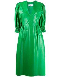 MSGM Платье С Объемными Рукавами - Зеленый