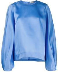 Nina Ricci Oversized Bell Sleeve Blouse - Blue