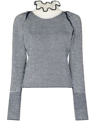 See By Chloé High Neck Ruffle Striped Sweater - Multicolor