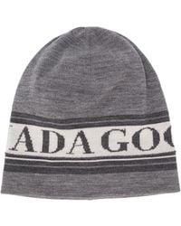Canada Goose Logo Knit Colour Block Hat - Grey