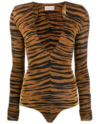 Alexandre Vauthier Tiger Print Bodysuit - Brown