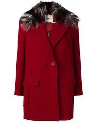 Fendi Двубортное Пальто С Меховой Отделкой - Красный