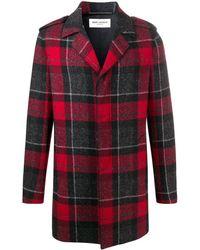 Saint Laurent Однобортное Пальто В Шотландскую Клетку - Красный