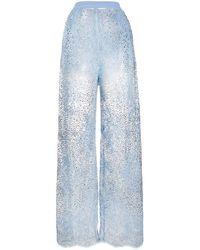 Ermanno Scervino Pantalon en dentelle à ornements en perle - Bleu