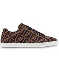 Fendi Ff Sneakers Met Motief - Bruin