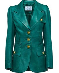 Prada Embellished Leather Blazer - Green
