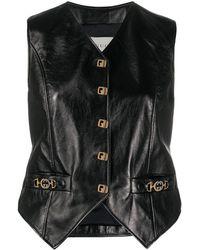 Gucci Leather Horsebit Gilet - Black