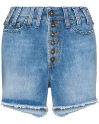 Faith Connexion Distressed Effect High Waist Denim Shorts - Blue