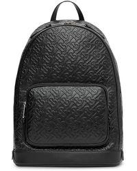 Burberry Embossed Monogram Backpack - Black