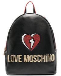 Love Moschino Fantasy ロゴパッチ バックパック - ブラック