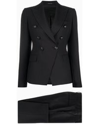 Tagliatore Double-breasted Diagonally Cut Suit - Black