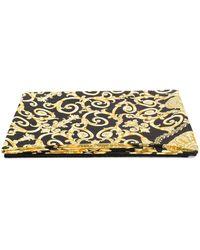 Versace Пляжное Полотенце С Принтом Gold Hibiscus - Металлик