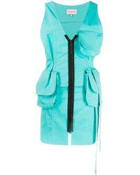 Natasha Zinko Robe courte zippée à poches cargo - Bleu