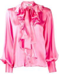 MSGM Рубашка С Воротником На Завязке - Розовый