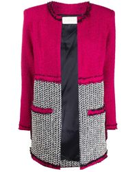 Loulou Panelled Knitted Jacket - Pink