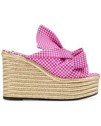 N°21 - Gingham Knotted Bow Wedges - Lyst