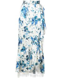 Adam Lippes - Floral-print Lace-trimmed Ruffled Midi Skirt - Lyst