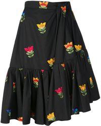 Carolina Herrera フローラル スカート - ブラック