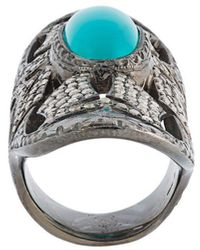 Loree Rodkin Turquoise & Diamond Bondage Ring - Metallic