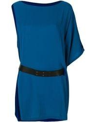 Hermès Асимметричное Платье С Поясом - Синий
