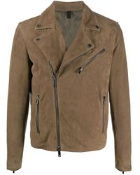Tagliatore Freeman Suede Biker Jacket - Brown