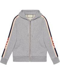 Gucci Hooded Zip-up Sweatshirt With Stripe - Gray