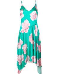 Fleur du Mal Платье Миди С Принтом Роз - Зеленый
