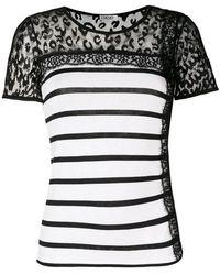 Liu Jo - Striped Sheer Panel T-shirt - Lyst