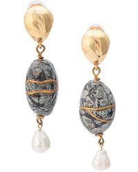 Oscar de la Renta Drop Stone Earrings - Metallic