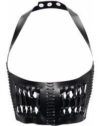 Manokhi Halterneck Leather Crop Top - Black