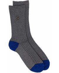 Sacai Embroidered-logo Ribbed-knit Socks - Grey