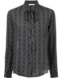 Societe Anonyme Checked-print Silk Blouse - Grey