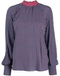 KENZO - Blusa con estampado de red y lazo en el cuello - Lyst