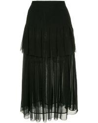 Oscar de la Renta - Tiered Box Pleated Skirt - Lyst