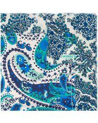 Twin Set Frayed Paisley-print Scarf - Blue