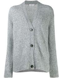 Closed V-neck Buttoned Cardigan - Gray