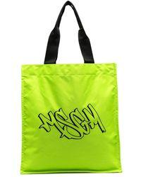 MSGM Logo-print Tote Bag - Green