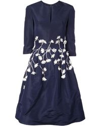 Oscar de la Renta Kleid mit Blumenapplikation - Blau