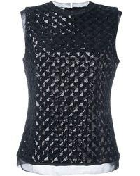 Emanuel Ungaro Quilted Sequin Top - Black