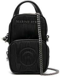 Marine Serre ポケット ロゴプレート ミニバッグ - ブラック