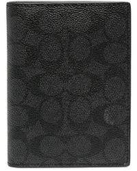 COACH Signature ロゴ パスポートケース - ブラック