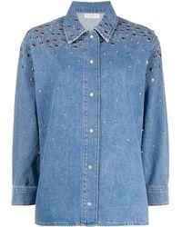 Sandro Long Sleeve Stud-embellished Denim Shirt - Blue